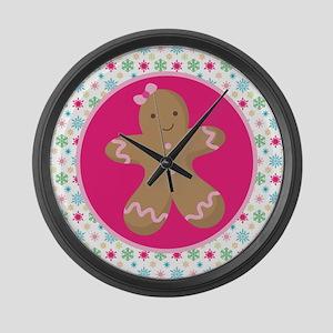 Christmas Gingerbread Girl Large Wall Clock