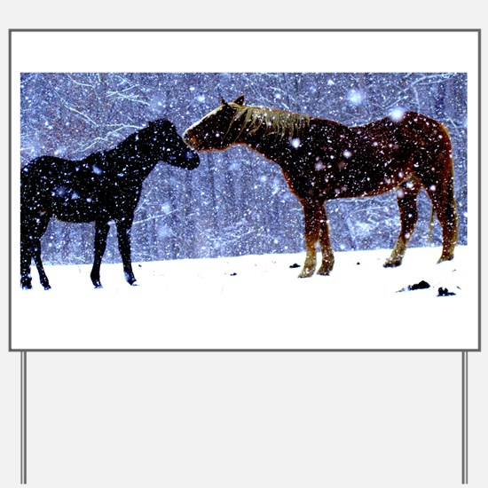 Snow Horse Friends Yard Sign