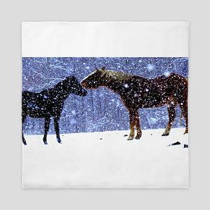 Snow Horse Friends Queen Duvet