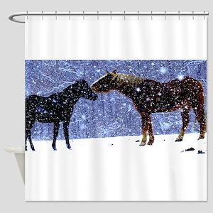 Snow Horse Friends Shower Curtain