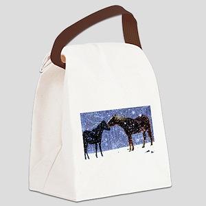 Snow Horse Friends Canvas Lunch Bag