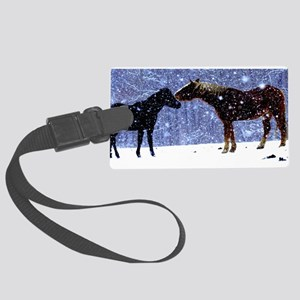 Snow Horse Friends Large Luggage Tag