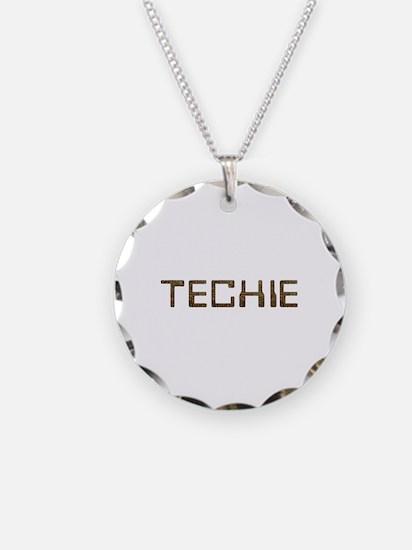 Techie Circuit Necklace Circle Charm