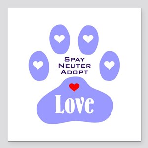 """Paw Of Love Square Car Magnet 3"""" x 3"""""""