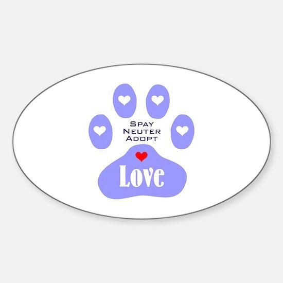Paw Of Love Sticker (Oval)