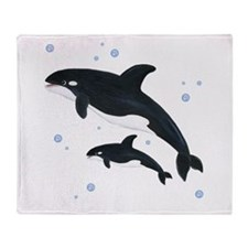Killer Orca Whales Throw Blanket