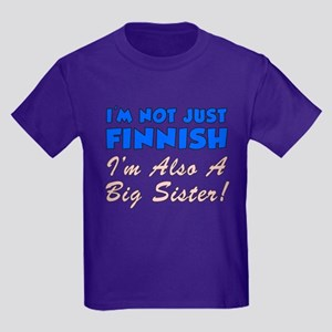 Not Just Finnish Big Sister Kids Dark T-Shirt