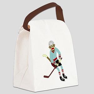Sock Monkey Ice Hockey Player Canvas Lunch Bag