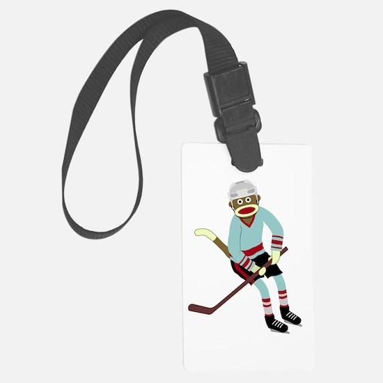 Sock Monkey Ice Hockey Player Luggage Tag
