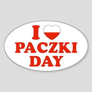 I Heart Paczki Day Oval Sticker