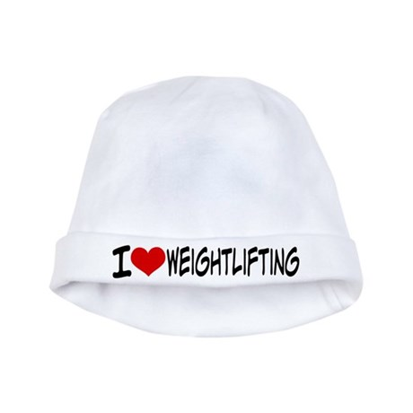 I Heart Weightlifting baby hat