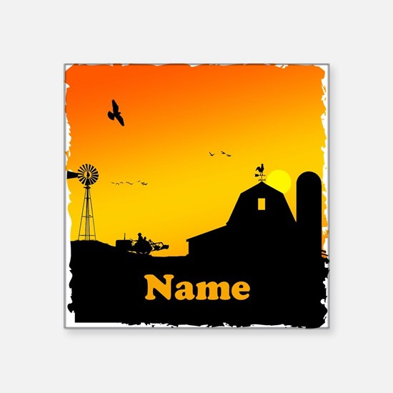 "Sunrise at the Farm Square Sticker 3"" x 3"""