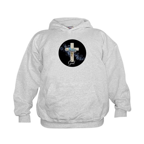 Faith in God gold cross and blue bubbles Kids Hood