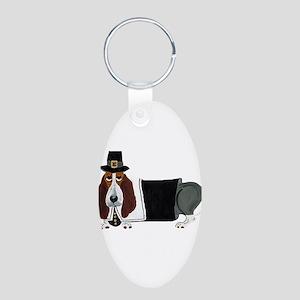 Basset Hound Thanksgiving Pilgrim Aluminum Oval Ke