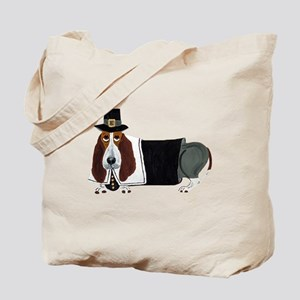 Basset Hound Thanksgiving Pilgrim Tote Bag