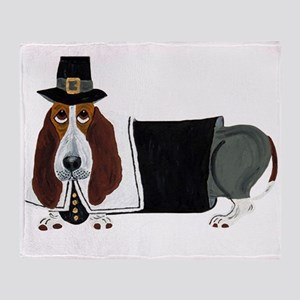 Basset Hound Thanksgiving Pilgrim Throw Blanket