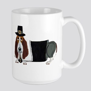 Basset Hound Thanksgiving Pilgrim Large Mug