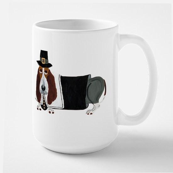 Basset Hound Thanksgiving Pilgrim Large Mug