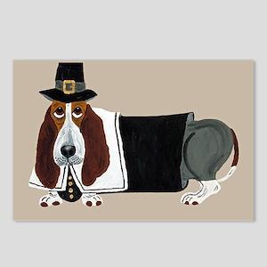Basset Hound Thanksgiving Pilgrim Postcards (Packa