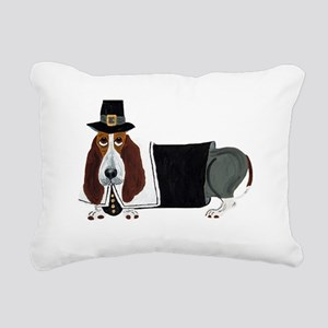 Basset Hound Thanksgiving Pilgrim Rectangular Canv