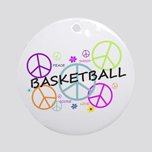 Colored Peace Signs Basketball Ornament (Round)