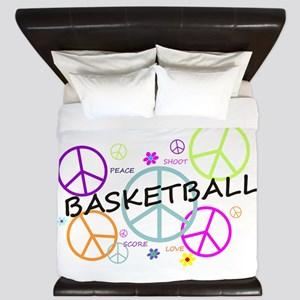 Colored Peace Signs Basketball King Duvet