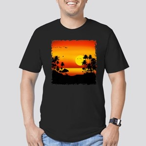Island Sunset Men's Fitted T-Shirt (dark)