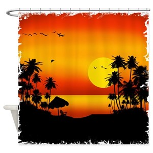 Sunset Beach Shower Curtains