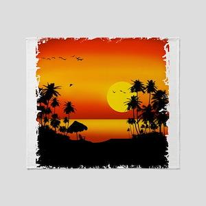 Island Sunset Throw Blanket
