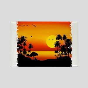 Island Sunset Rectangle Magnet