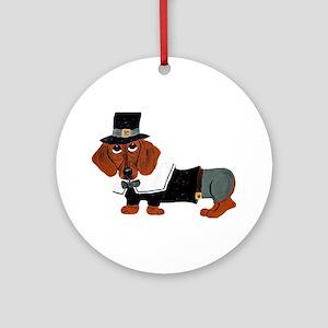 Dachshund Thanksgiving Pilgrim Ornament (Round)