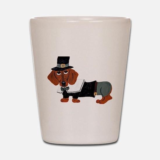 Dachshund Thanksgiving Pilgrim Shot Glass
