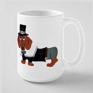 Dachshund Thanksgiving Pilgrim Large Mug