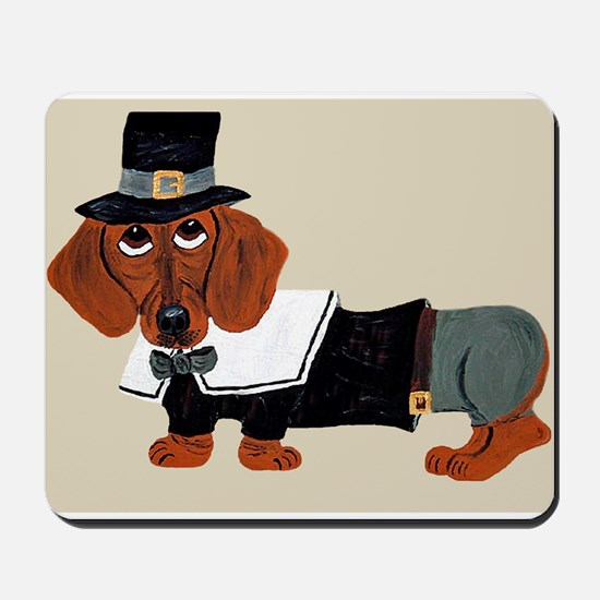 Dachshund Thanksgiving Pilgrim Mousepad
