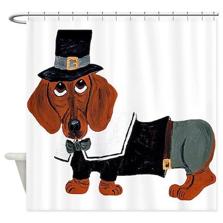 Dachshund Thanksgiving Pilgrim Shower Curtain