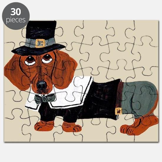 Dachshund Thanksgiving Pilgrim Puzzle