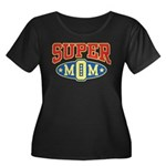 Super Mom Women's Plus Size Scoop Neck Dark T-Shir