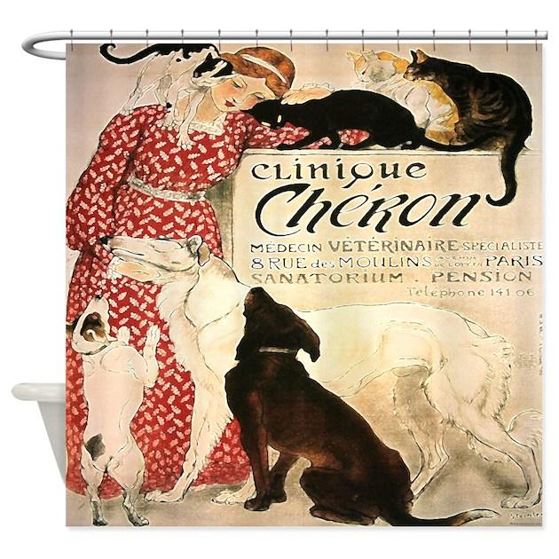 Vintage French Cat Dog Shower Curtain By Rebeccakorpita