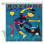 Vintage French Bull Bayonne France Shower Curtain