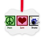 Peace Love Drums Picture Ornament