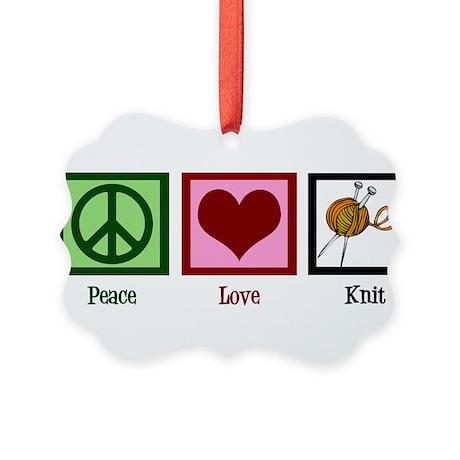 Peace Love Knit Picture Ornament