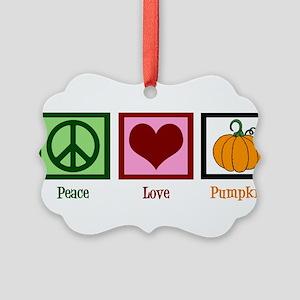 Peace Love Pumpkin Picture Ornament
