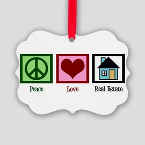 Peace Love Real Estate Picture Ornament