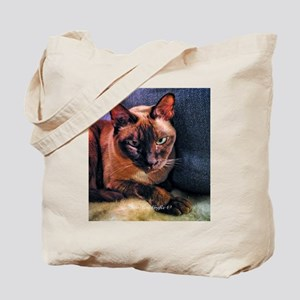 Tonkinese on Blue Sofa Tote Bag