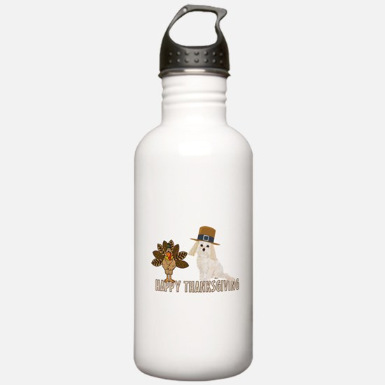 Cockapoo and Turkey Happy Thanksgiving Water Bottle