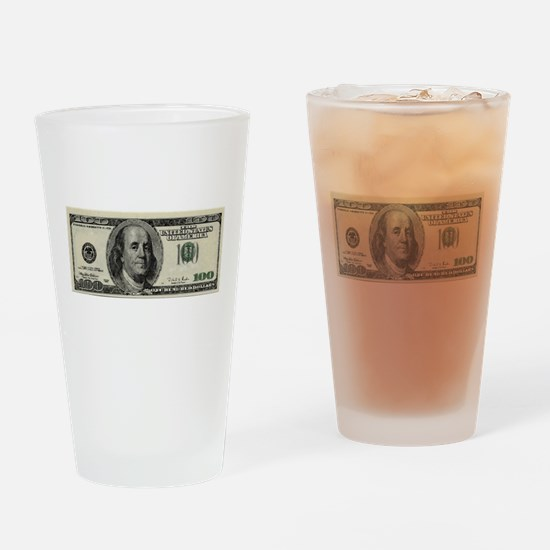 100 Dollar Bill Drinking Glass