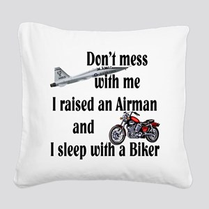raisedairmanbiker Square Canvas Pillow