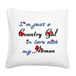 Country Gal Air Force Love Square Canvas Pillow