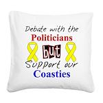 Debate Politicians Support ou Square Canvas Pillow