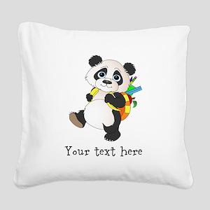 Personalize it School Panda Square Canvas Pillow